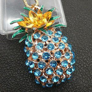 Dazzling PINEAPPLE Rhinestone Hawaii LUAU Necklace